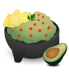 Guacamole in traditional mexican molcajete vector