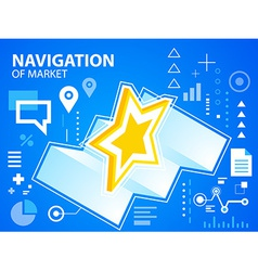 Bright navigation map and star on blue backg vector