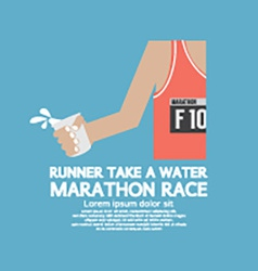 Runner take a water in a marathon race vector