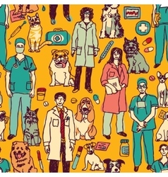 Veterinary people and pets seamless pattern vector