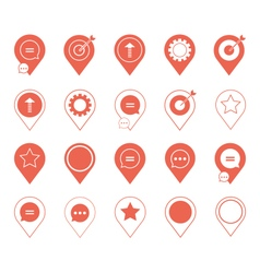 Coral pin marker icon set with graphic elements vector