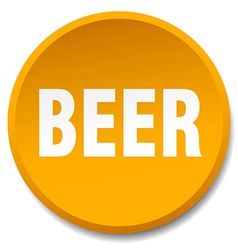 Beer orange round flat isolated push button vector