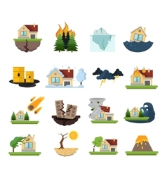 Disaster damage icon set vector