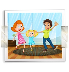A happy family photo vector image
