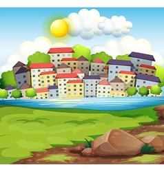 A village near the river vector
