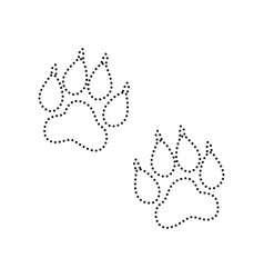 Animal tracks sign black dotted icon on vector