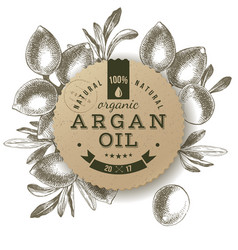 Argan oil label with hand drawn nuts vector