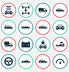 Automobile icons set collection of lorry drive vector