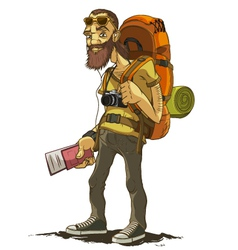 Bearded traveler with a large backpack vector image