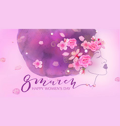Beautiful woman watercolor pink background vector