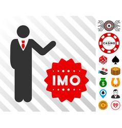 Businessman show imo token icon with bonus vector