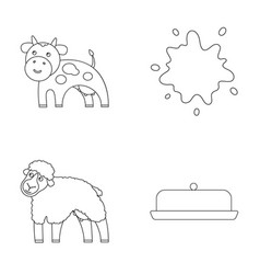 Cow sheep a drop of milk butter milk set vector