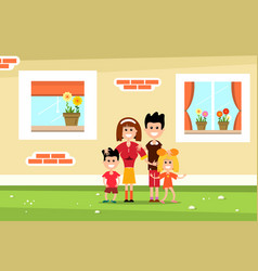 Family with family house wall and windows flat vector