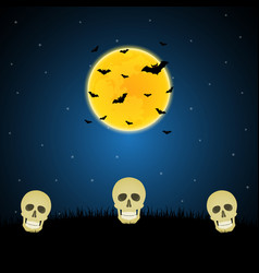 halloween skull graveyard moon bat background vector image vector image