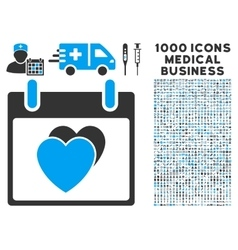 Hearts calendar day icon with 1000 medical vector