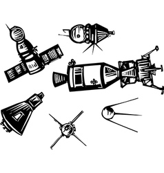 Historical spaceships vector