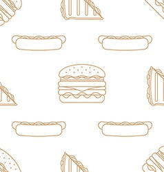 hot dog club sandwich burger outline seamless vector image vector image