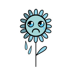 Kawaii sad flower plant with leaves and petals vector