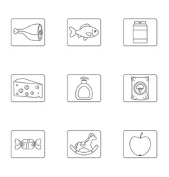 Meal icons set outline style vector