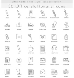 Office stationery ultra modern outline line vector