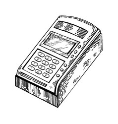 Payment terminal engraving style vector