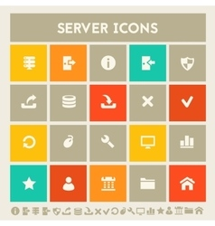 Server icon set Multicolored square flat buttons vector image vector image