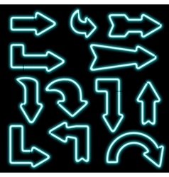 Set neon arrows of different shapes vector image vector image