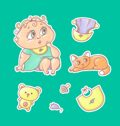 set of color stickers of the vector image