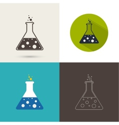 Set of icons with chemical flask vector