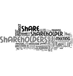 Shareholders word cloud concept vector