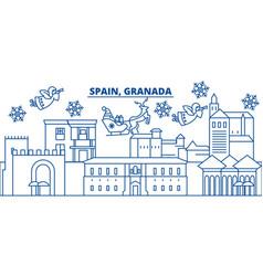 Spain granada winter city skyline merry vector