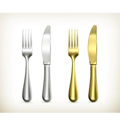 Table knife and fork vector image