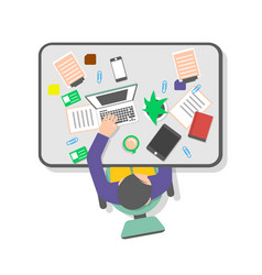 Top view workplace of office manager vector