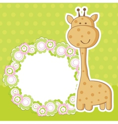 Vintage baby girl arrival announcement card vector image vector image