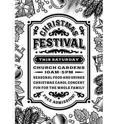 Vintage christmas festival poster black and white vector