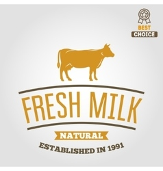 Vintage label logo emblem template of milk on vector