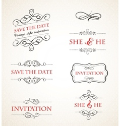 Vintage wedding invitations set vector image
