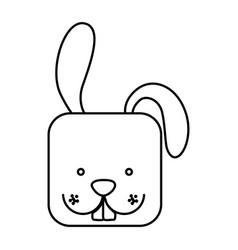 White cute rabbit head cartoon vector
