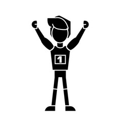 Winner man first place icon vector