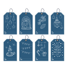 Winter and new year gift tags set hand drawn vector