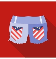 Woman jeans shorts icon flat style vector image
