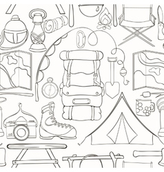 Seamless camping pattern vector