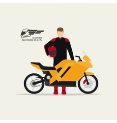Biker standing with motorcycle vector