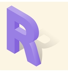 R letter in isometric 3d style with shadow vector