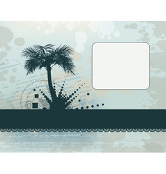 Palm silhouette frame background vector