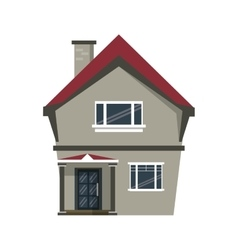 Cartoon american house domestic chimney vector