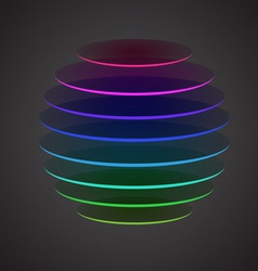 Colourful sliced sphere on dark background vector