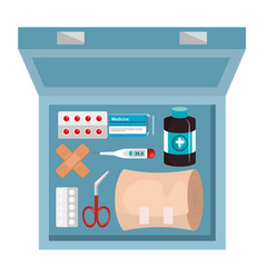 Medical kit elements icon vector