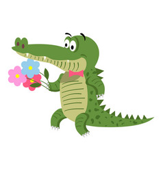 Cartoon crocodile with flowers isolated on white vector