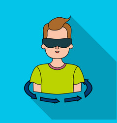 rotation of player in the virtual reality icon in vector image